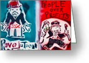 Monopoly Greeting Cards - People over profits Greeting Card by Tony B Conscious