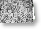 Pen And Ink Drawing Drawings Greeting Cards - People People People Greeting Card by Michelle Calkins