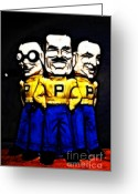 Mascots Digital Art Greeting Cards - Pep Boys - Manny Moe Jack - Color Sketch Style - 7D17428 Greeting Card by Wingsdomain Art and Photography