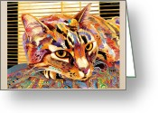 Abstract Realism Painting Greeting Cards - Pepa Greeting Card by Bob Coonts