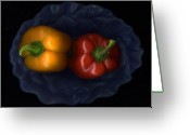 Signed Mixed Media Greeting Cards - Peppers And Blue Bowl Greeting Card by Christian Slanec