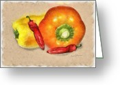 Chili Peppers Greeting Cards - Peppers Greeting Card by Anthony Caruso