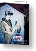 Murals Greeting Cards - Pepsi is here - Pepsi Cola Ad in Prague CZ Greeting Card by Christine Till