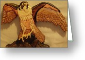 Wildlife Sculpture Greeting Cards - Peregrine Falcon Greeting Card by Russell Ellingsworth