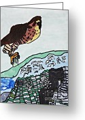Falcon Drawings Greeting Cards - Peregrine Falcon Greeting Card by Stephanie Ward