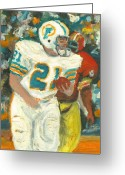Miami Dolphins Greeting Cards - Perfect 21 Greeting Card by Jorge Delara