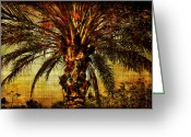 Linen Greeting Cards - Perfect Palm Greeting Card by Chris Crowley