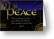 Bible Scripture Canvas Greeting Cards - Perfect Peace Greeting Card by Greg Long