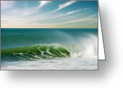 Green Greeting Cards - Perfect Wave Greeting Card by Carlos Caetano