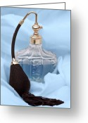 Cosmetics Greeting Cards - Perfume Bottle Still Life I in Blue Greeting Card by Tom Mc Nemar