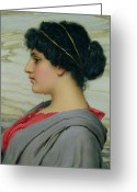 Hairdo Greeting Cards - Perilla Greeting Card by John William Godward