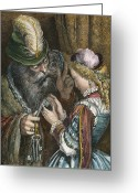 Perrault Greeting Cards - Perrault: Bluebeard, 1867 Greeting Card by Granger
