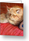 Pet Pastels Greeting Cards - Persian cat Greeting Card by Svetlana Ledneva-Schukina
