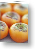Persimmons Greeting Cards - Persimmon Fruits Greeting Card by David Munns