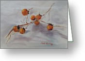 Persimmons Greeting Cards - Persimmons Greeting Card by Carol Berning
