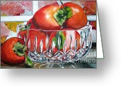 Persimmons Greeting Cards - Persimmons Greeting Card by Jane Loveall