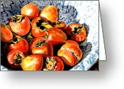 Food Art Painting Greeting Cards - Persimmons Greeting Card by Nadi Spencer