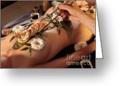 Covering Greeting Cards - Person Eating Nyotaimori Body Sushi Greeting Card by Oleksiy Maksymenko