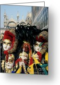 Basilica San Marco Greeting Cards - Person surrounded by elaborate masks for sale on St Marks Basilica Greeting Card by Sami Sarkis