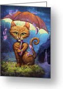Cat Painting Greeting Cards - Personal Sunshine Greeting Card by Jeff Haynie