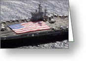 Aircraft Carrier Greeting Cards - Personnel Participate In A Flag Greeting Card by Stocktrek Images