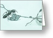 Oak Leaf Drawings Greeting Cards - Perspective Greeting Card by Terri Mills