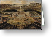 Versailles Greeting Cards - Perspective view of the Chateau Gardens and Park of Versailles Greeting Card by Pierre Patel