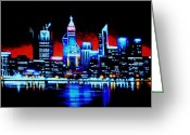 Skylines Painting Greeting Cards - Perth by Black Light   SOLD Greeting Card by Thomas Kolendra