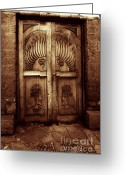 Husband And Wife Greeting Cards - Peruvian Door Decor 11 Greeting Card by Xueling Zou
