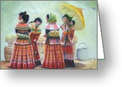 Linen Greeting Cards - Peruvian Ladies Greeting Card by Catherine Link