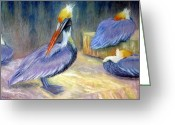 Blues Pastels Greeting Cards - Peruvian Pelicans One  Pastel Greeting Card by Antonia Citrino