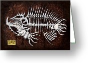 Monster Reliefs Greeting Cards - pescado Cuatro Greeting Card by Baron Dixon