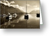 Lake Como Greeting Cards - Pescallo Harbor Greeting Card by Joe Bonita