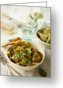 Utensil Greeting Cards - Pesto Pasta Greeting Card by Lew Robertson/Fuse