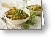 Utensil Greeting Cards - Pesto Pasta With Marijuana Greeting Card by Lew Robertson/Fuse