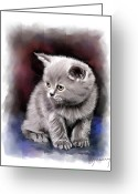 Portraits Mixed Media Greeting Cards - Pet Cat Portrait Greeting Card by Michael Greenaway