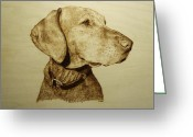Dog Art Pyrography Greeting Cards - Pet Portrait - Hunter Greeting Card by Adam Owen