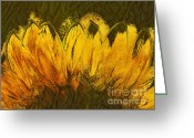 Yellow Flower Digital Art Greeting Cards - Petales de Soleil - a43t02b Greeting Card by Variance Collections