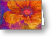 Orange Flower Photo Greeting Cards - Petaline - t39a04b Greeting Card by Variance Collections