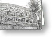 Juliana Dube Drawings Greeting Cards - Petco Park Greeting Card by Juliana Dube