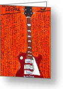 Iconic Guitars Greeting Cards - Pete Townshends Les Paul 5 Greeting Card by Karl Haglund