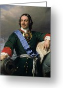 Sash Greeting Cards - Peter I the Great Greeting Card by Delaroche