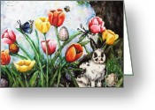 Hare Greeting Cards - Peters Easter Garden Greeting Card by Shana Rowe