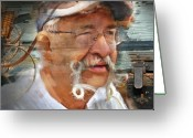 Male Portraits Greeting Cards - Petes Corner Aberfoyle Antique Market Greeting Card by Bob Salo
