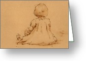 Play Drawings Greeting Cards - Petite Fille Greeting Card by Thor Wickstrom