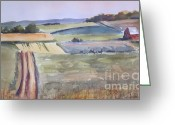 Petoskey Painting Greeting Cards - Petoskey Farm Field Watercolor Greeting Card by Sandra Strohschein