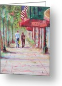 Petoskey Painting Greeting Cards - Petoskey Stroll Greeting Card by Kurt Anderson 