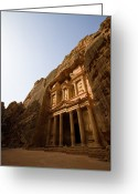Ancient Tomb Greeting Cards - Petra Treasury At Morning Greeting Card by Universal Stopping Point Photography