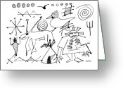 Ancient Aliens Greeting Cards - Petroglyph 1 Greeting Card by Doug  Duffey