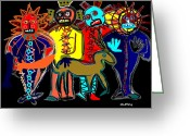 Ancient Aliens Greeting Cards - Petroglyph Greeting Card by Doug  Duffey